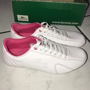 Lacoste Women Sneaker (white/hot pink) size 5.5